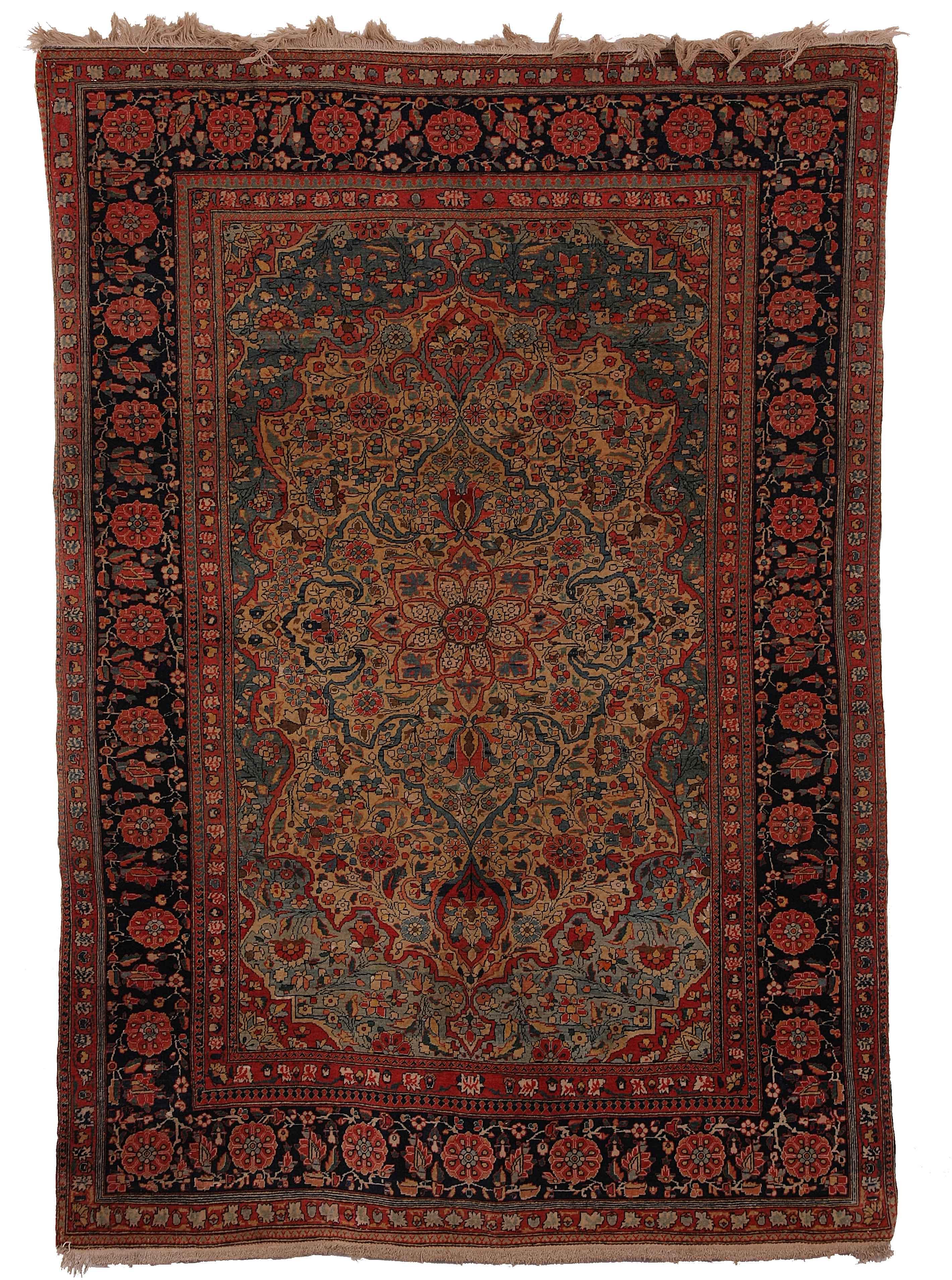 Antique Persian Kashan Carpet